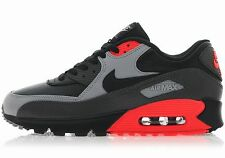 NIKE AIR MAX 90 LEATHER Black-Grey-Red running training sneakers new