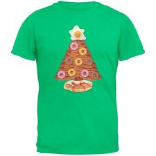 Breakfast Bacon And Eggs Christmas Tree Green Adult T-Shirt