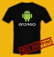Android Logo Google Phone OS Black t-shirt all size 100% money back guarantee