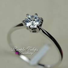 18K White Gold Plated 0.6CT Made With SWAROVSKI Diamond Solitaire Wedding Ring