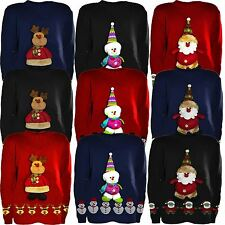 Girls Boys 3d Teddy Novelty Kids Christmas Unisex Winter Knitted Sweater Jumpers