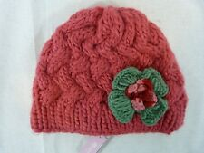 Accessorize Monsoon Girls Coral Red Thick Knit Warm Winter Hat With Flower
