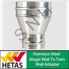 Single Wall To Twin Wall Adaptor 5 inch or 6 inch Flue Pipe Stainless Steel