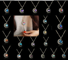 Hot Vogue Elegant Lady Jewelry Galactic Moon Crescent Necklace Cabochon Pendant