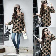 Women Slouchy T-shirt Polka Dot Knitted Long Shirt Pullover Tops