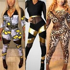 Lady Long Sleeve Bandage Bodycon Sexy Trousers Jumpsuit Rompers Evening Clubwear