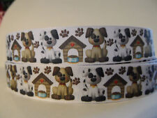 "Grosgrain Ribbon, Doggies & Dog Houses with Paw Prints, 7/8"" Wide"
