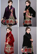 wholesale Middle-aged and old women's peacock embroidery pleuche Oversize coats
