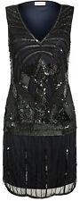 UK6 TO UK30 Black Navy Vintage 1920s Flapper Gatsby Downton Abbey Beaded Dress