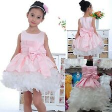 Baby Girls Kid Princess Bridesmaid Prom Wedding Party Flower Bow Gown Dress 2-7Y