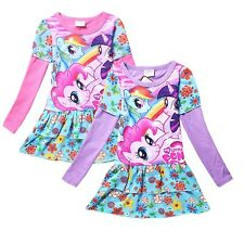 Cartoon Image My Little Pony Costume Top Kids Girls Flower Party Dress 2-7Yrs