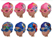 NEW cartoon images Children's waterproof fog goggles + swimming cap suit AU