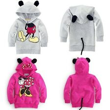 Girls Boys Kids Mickey Mouse Minnie Tops Hoodies Outfits Casual Costume 1-6Y UK