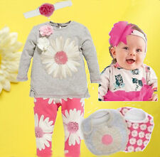 5pc/set Lovely Kids Girls Baby Pullover Pants Bib Headband Clothing Outfits 0-2Y