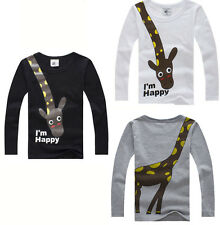 NEW 2-7Y Kids Boys Tee Long Sleeve Giraffe I'm Happy Soft Cotton Tops T-Shirts