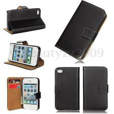 Genuine Leather Magnetic Flip Wallet Card Case Cover Stand For Apple iPhone 4 4S