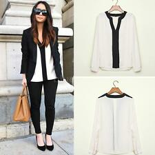 Sexy Women Lady Chiffon V Neckline Long Sleeves Casual Blouse T-Shirt Tops White