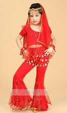 Children Girls Belly Dance Costume Halloween Indian Dance Outfit Top Pants NEW