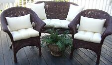 INDOOR / OUTDOOR WICKER CUSHIONS AND PILLOWS 7 PIECE SET - CHOOSE SOLID COLORS