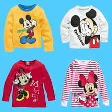 Fashion Baby Boys Girls Mickey Minnie Image Long Sleeve Tops T-shirt Hoodie 0~5Y