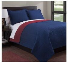 NEW Twin Full Queen King Coverlet Quilt 3 pc Set Reversible Navy Blue Red Shams