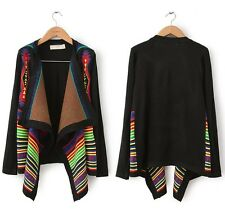Women Geometric Print Cardigan Knitted Aztec Tribal Sweater Black Coat Boho Tops