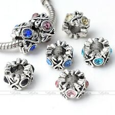 5pc Retro Crystal Spacer Charms Beads Fit European Big Hole Snake Bracelet DIY