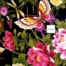 Radiant Butterfly Floral in Metallic Gold & Pink on Black Daiwabo Cotton Fabric