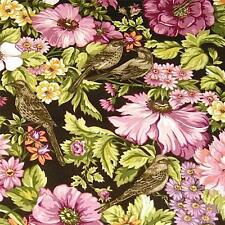 Little Birds & Flowers, Pink, Gold & Brown Floral by Clothworks, Cotton Fabric