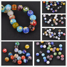 50pcs Round Ball 6mm/8mm Colorful Millefiori Lampwork Glass Jewelry Making Beads
