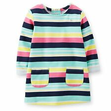 New Carter's Striped Pink Navy Yellow Tunic Top Shirt NWT Size  2T 4 6 6X 12 Kid