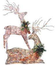 SYLVANIA LIGHTED LARGE 2D FROSTED GRAPEVINE STANDING OR LAYING CHRISTMAS DEER