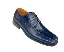 New Men's Quality PU Uppers Oxfords Alligator Print Casual Dress Shoes Navy
