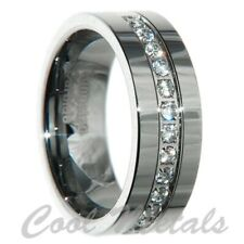 8mm Tungsten Carbide 1 Carat 13 stones Bridal Men Wedding Band Ring Size 7-15