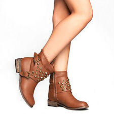 Breckelle's Apache-21 Studded Military Harness Buckle Combat Boots Booties Tan