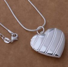 925 Sterling Silver Stp Heart Locket Pendant Necklace Photo Snake Chain Gift Box