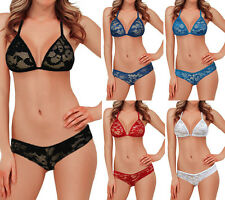 Sexy New Triangle Bra & Bikini Sets Black Red White Lace Thong Lingerie Bedtime
