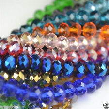 100PC FACETED RONDELLE  CRYSTAL GLASS BEADS 4x6MM PICK COLOUR