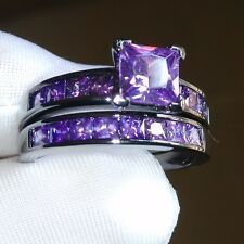 Sz5-10 Retro Princess cut 10kt black gold filled Amethyst Wedding Ring set gift