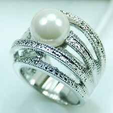 Huge White Pearl Gemstone 925 Sterling Silver Ring Size 6 7 8 9 10 11 R265
