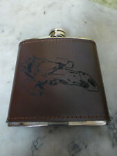 Custom Firefly Serenity Ship Engraved Leather Dyed Steel Flask Wedding Gift