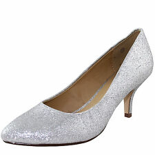 New women's shoes pump classic pointed toe med heel prom formal party silver