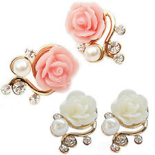 Delicate Pink/White Rose Flower Gorgeous Crystal Rhinestone Pearl Stud Earrings