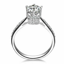 CROWN CZ STERLING SILVER ENGAGMENT WEDDING RING WOMEN'S SIZE 4,5,6,7,8,9,10 SS21