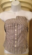 Black and White Glamorous Striped Body Ruffle Tube Top Size Small & Large