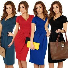 Fashion Women Office Stretchy Dress Tunic V-Neck Short Sleeve Maternity Dress