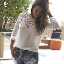 Women Sheer Sleeve Chiffon Shirt Top Blouse Embroidery Floral Lace Crochet Tee