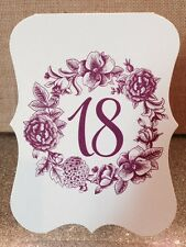 Wedding Table Numbers Cards with Vintage Floral Garden Design - Any Color