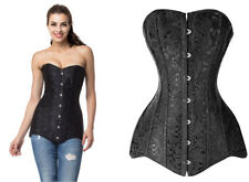 Plus Size Black Jacquard Steel Boned Overbust Long Line Corset Top Size 16 to 24