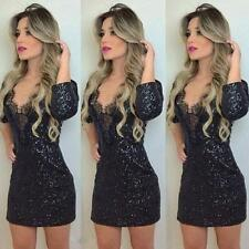 Women Slim Dress Lace V-Neck 3/4 Sleeve Fashion Lady Clubwear Party Mini Dress